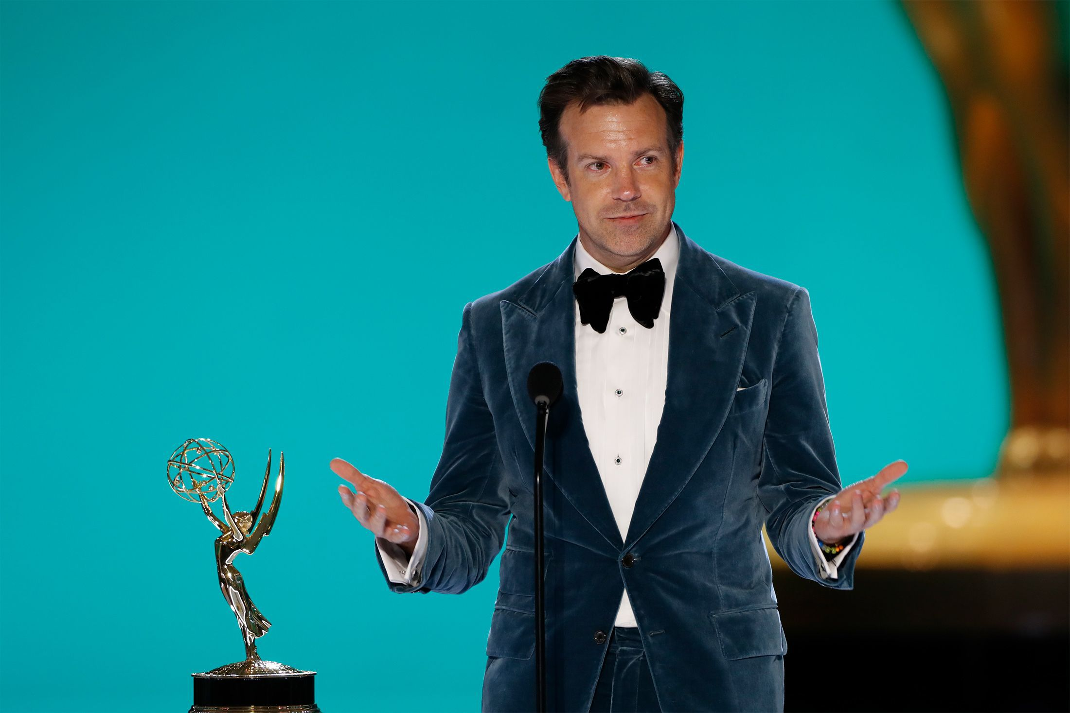Jason Sudeikis from 'Ted Lasso' appears at the 73RD EMMY AWARDS, broadcast Sunday, Sept. 19 2021.
